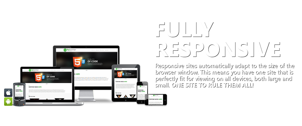 Fully Responsive - Responsive sites automatically adapt to the size of the browser window. This means you have one site that is perfectly fit to be viewed on all devices both large and small.