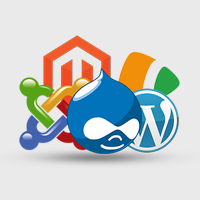 Image of Drupal, Wordpress, Joomla, and other CMS logos